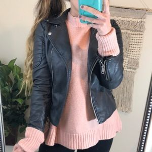 Forever 21 Vegan Charcoal Grey Leather Jacket